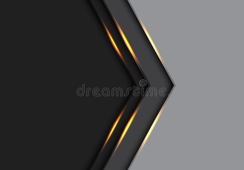 Abstract gold light arrow direction on grey and black with blank space design modern futuristic background vector royalty free illustration