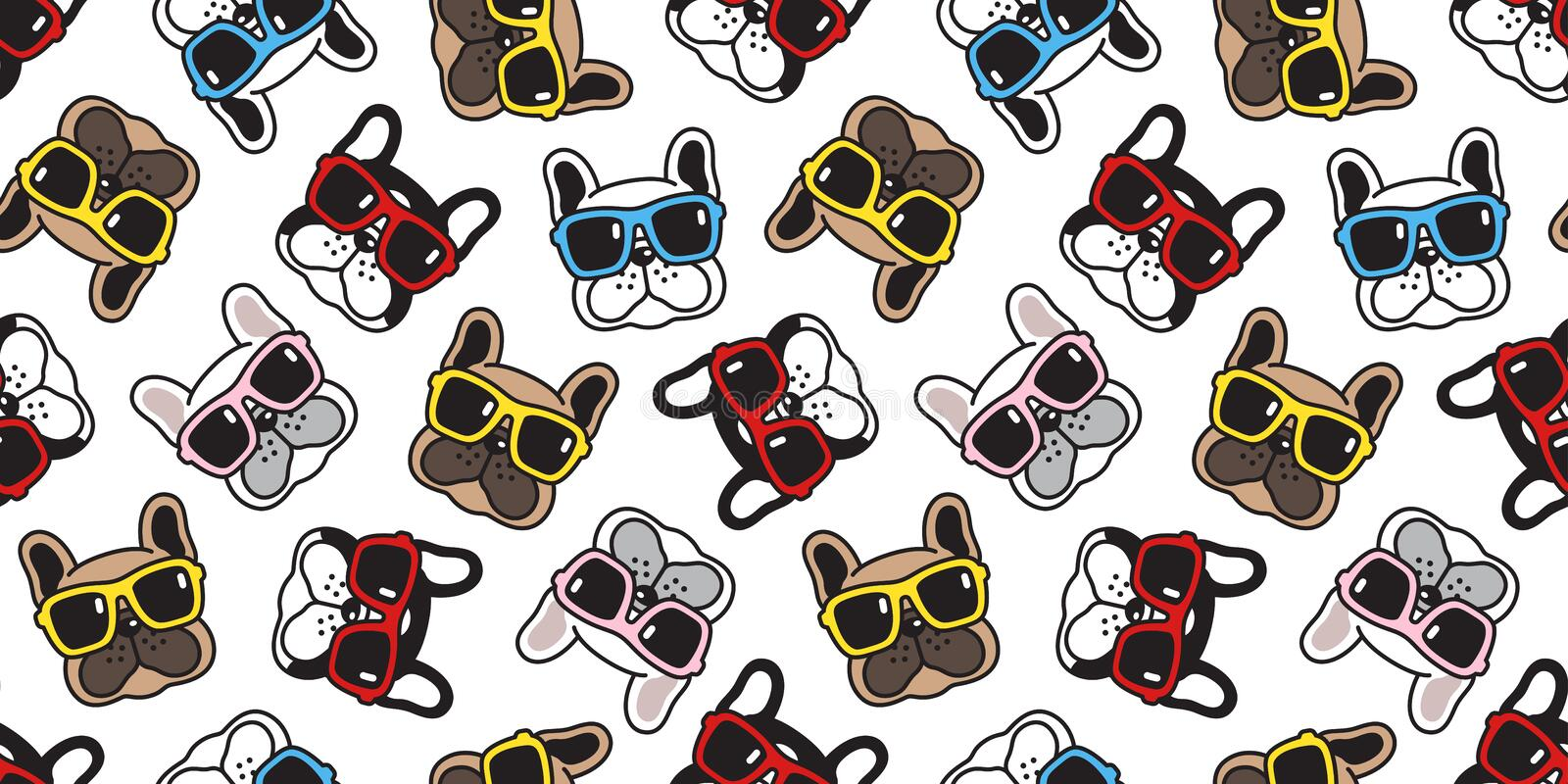 Dog seamless pattern french bulldog vector sunglasses face scarf isolated repeat wallpaper cartoon tile background doodle. Cute royalty free illustration