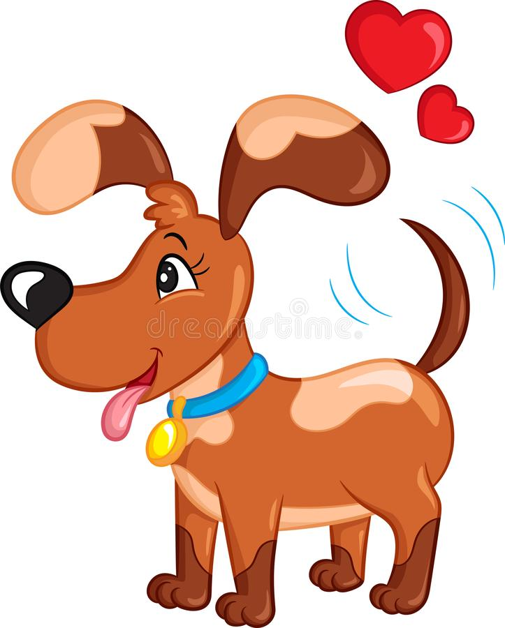 Color kawaii drawing of a little dog, with hearts over his head, for children`s book or Valentine`s Day card. Adorable color kawaii illustration of a cute little vector illustration