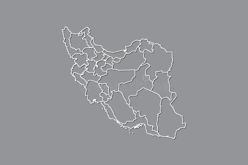 Iran vector map with border lines of provinces using gray color on dark background illustration. Iran vector map with border lines of provinces using gray color vector illustration