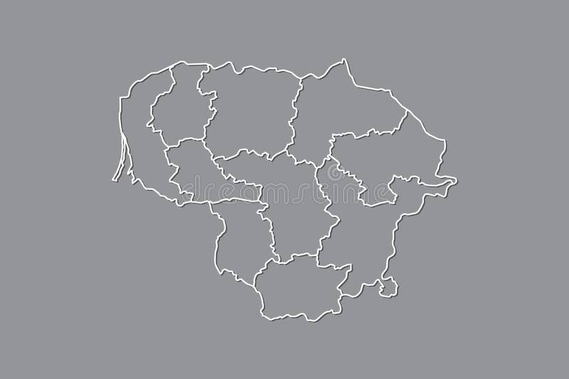 Lithuania vector map with border lines of regions using gray color on dark background illustration. Lithuania vector map with border lines of regions using gray vector illustration