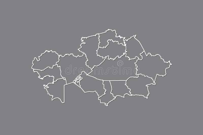 Kazakhstan vector map with border lines of provinces using gray color on dark background illustration. Kazakhstan vector map with border lines of provinces using stock illustration