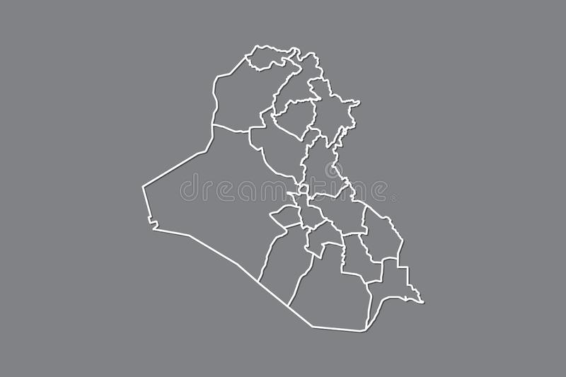 Iraq vector map with border lines of divisions using gray color on dark background illustration. Iraq vector map with border lines of divisions using gray color stock illustration