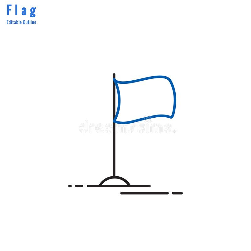 Flag icon, Competition flag, Business milestone, success, Thin line editable stroke royalty free illustration