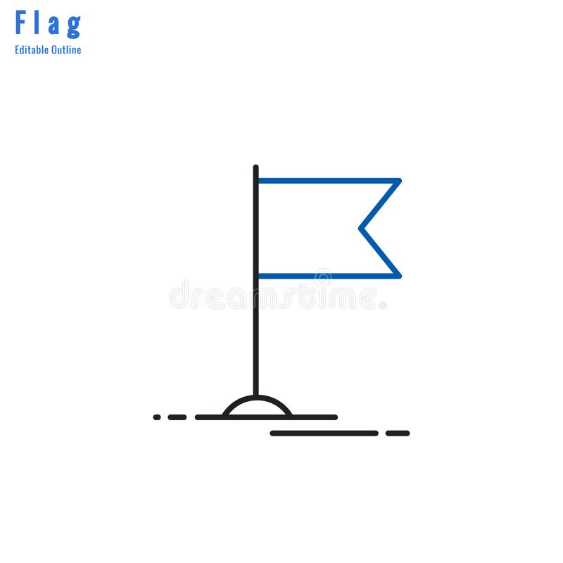 Flag icon, Competition flag, Business milestone, success, Thin line editable stroke stock illustration