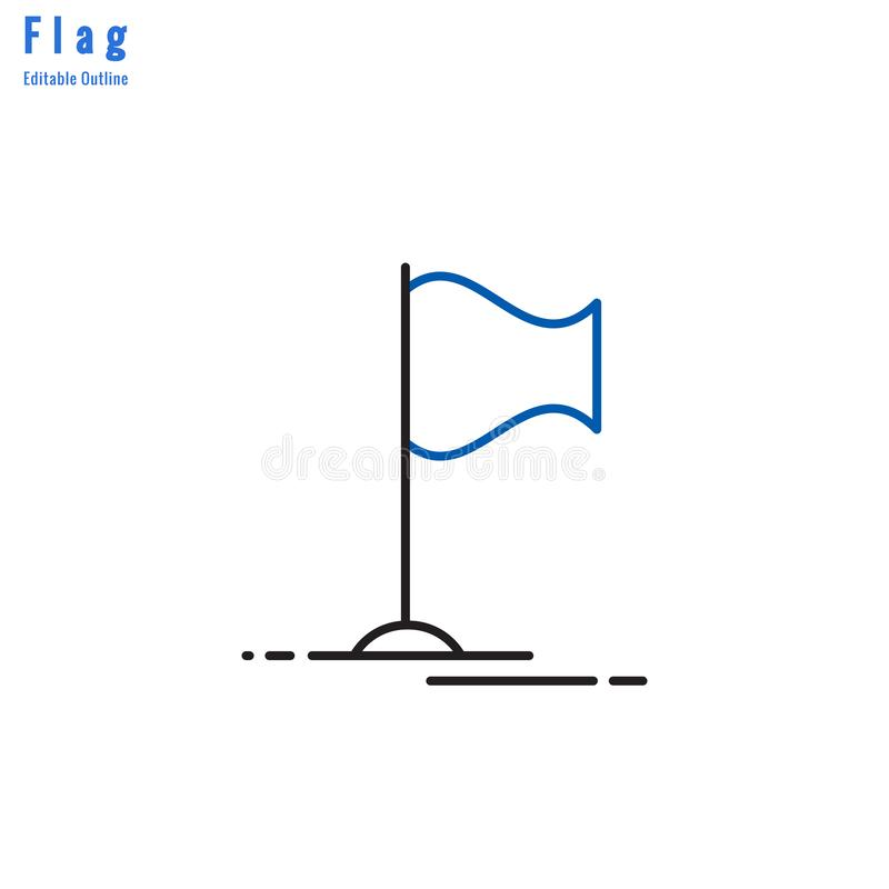 Flag icon, Competition flag, Business milestone, success, Thin line editable stroke vector illustration