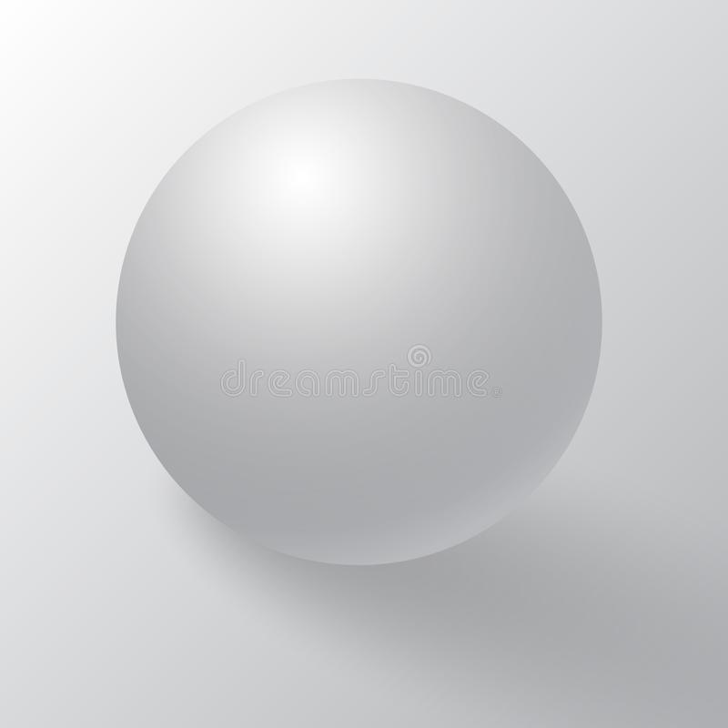 Realistic detailed 3d blank of white round sphere or 3d ball. White round sphere with shadows, half-shadows and reflex. royalty free illustration