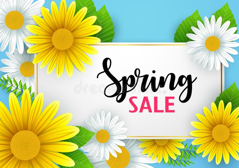 Spring sale banner background with beautiful flowers royalty free illustration