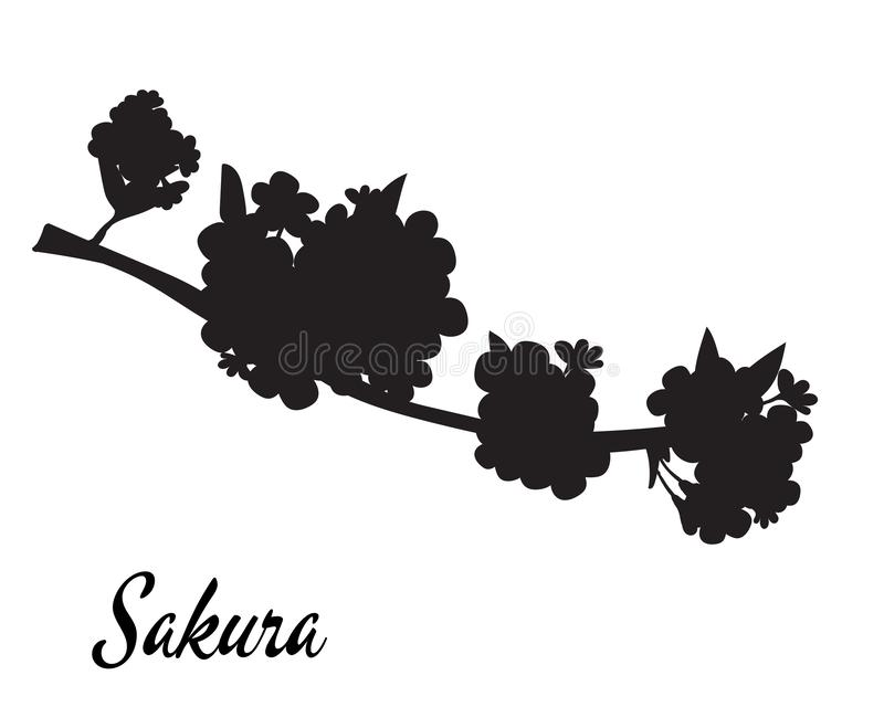 Sakura silhouette vector illustration. Sakura branch in bloom. stock illustration