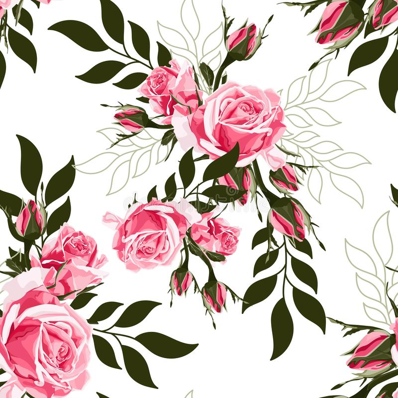 Pink rose and simple green leaves. Floral botanical flower. Seamless background pattern. stock illustration