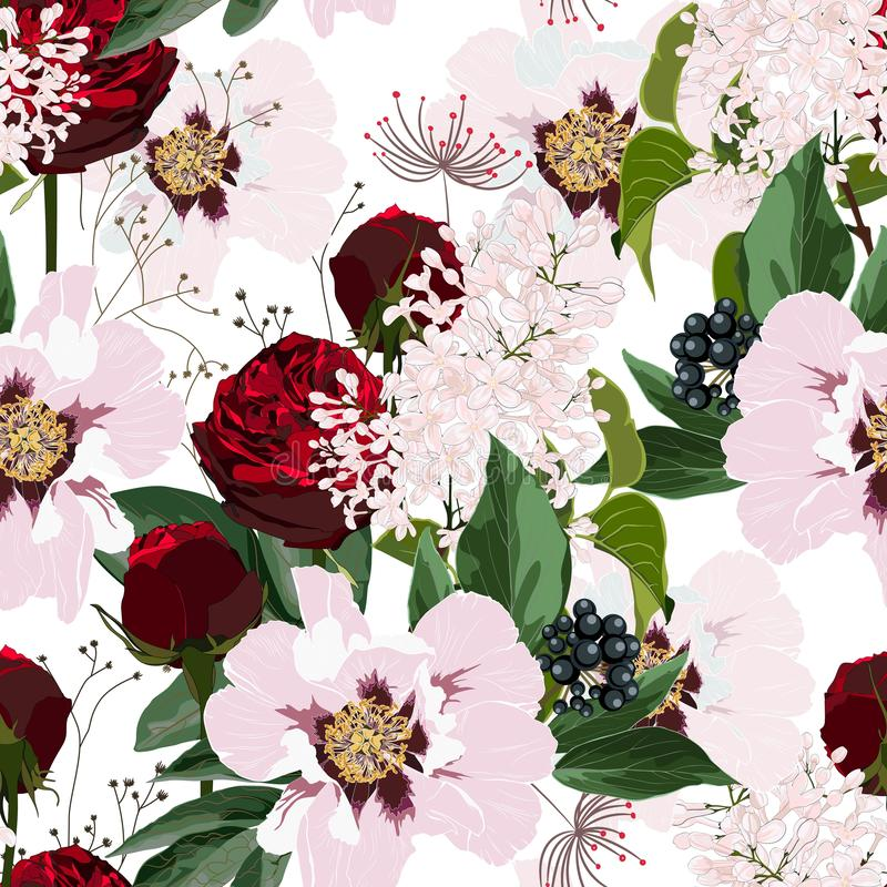 Flower pattern with hand drawn wild flora roses and peony. Realistic isolated seamless flower, blooming wild print, blooming reali vector illustration