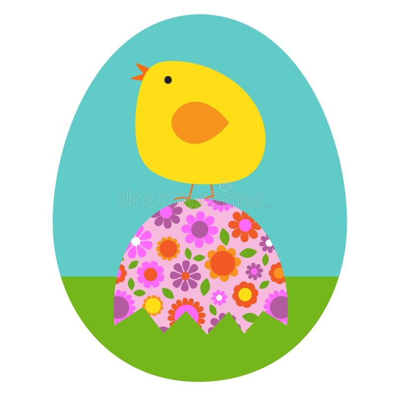 Cute Easter bunny sitting on floral Easter egg stock photos