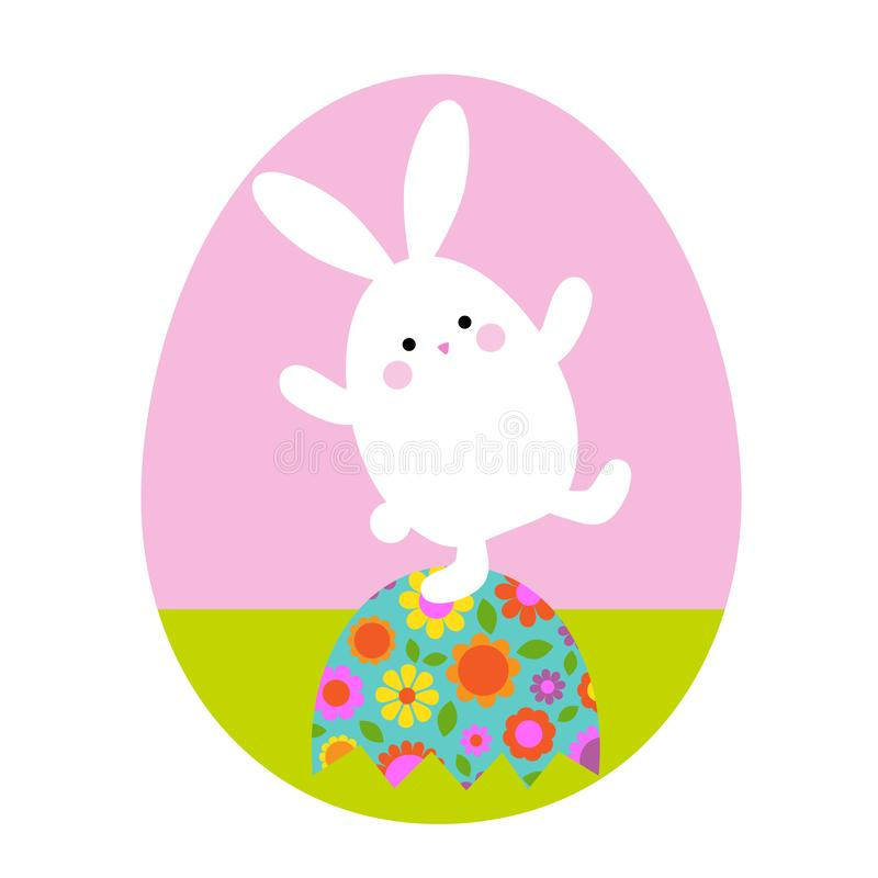 cute Easter bunny on top of floral egg stock images
