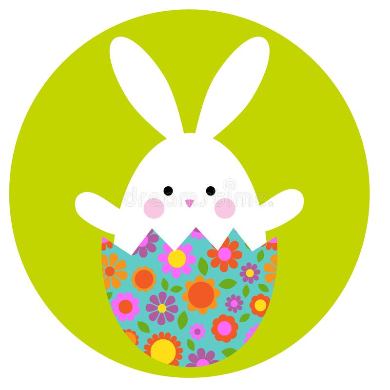 Cute Easter bunny in hatching egg with floral pattern royalty free stock photography