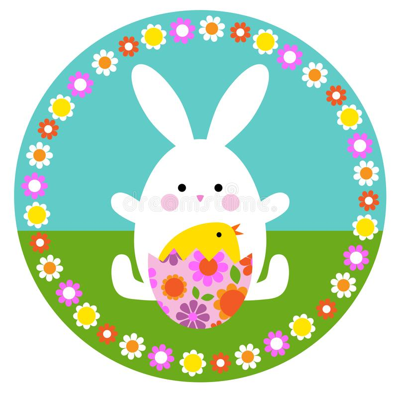 Cute Easter bunny and hatching egg on circle with floral frame royalty free stock photo