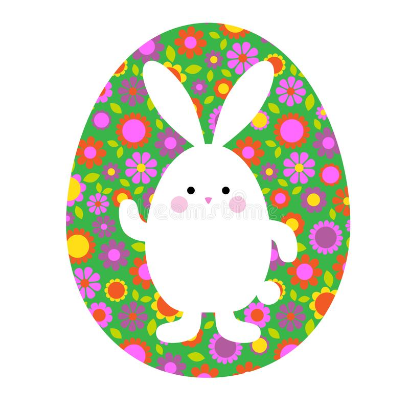 Cute Easter bunny on green floral pattern egg royalty free stock photos