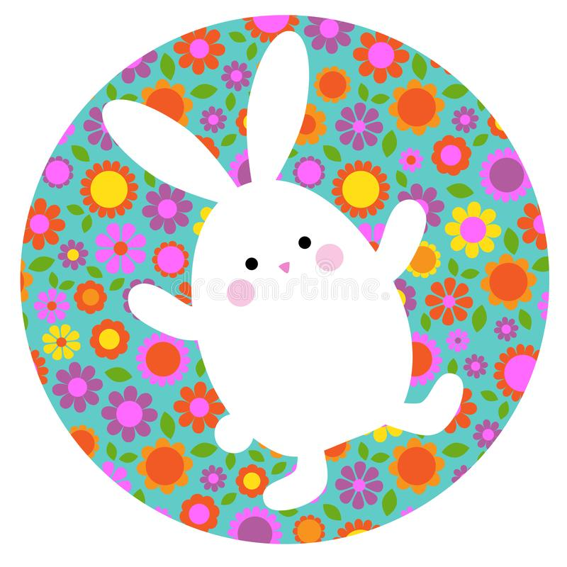 Cute Easter bunny on circle shape with floral pattern stock photo