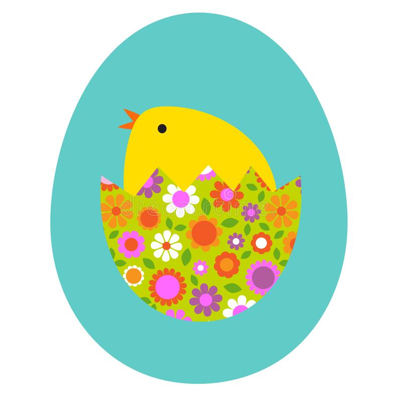Cute baby chick hatching in floral Easter egg royalty free stock photos