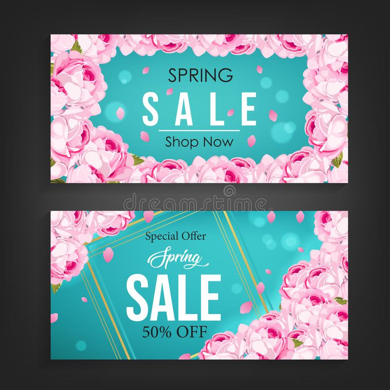 Spring sale banner background with beautiful flower pattern element stock illustration
