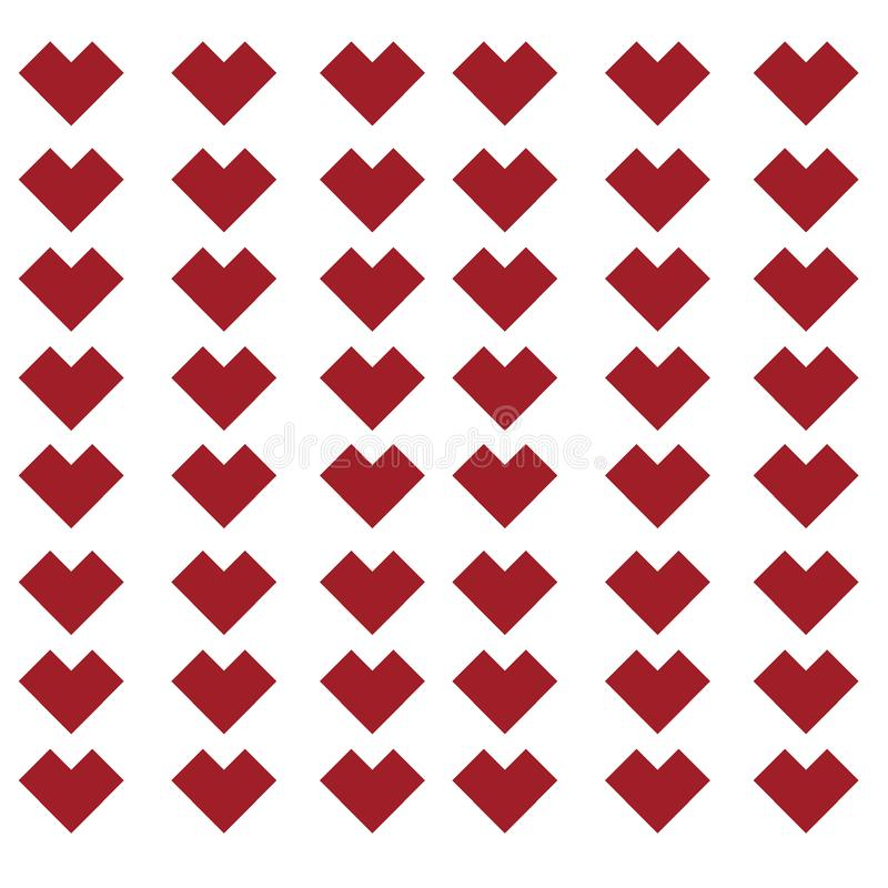 Abstract red love pixel patern background. Vector stock illustration