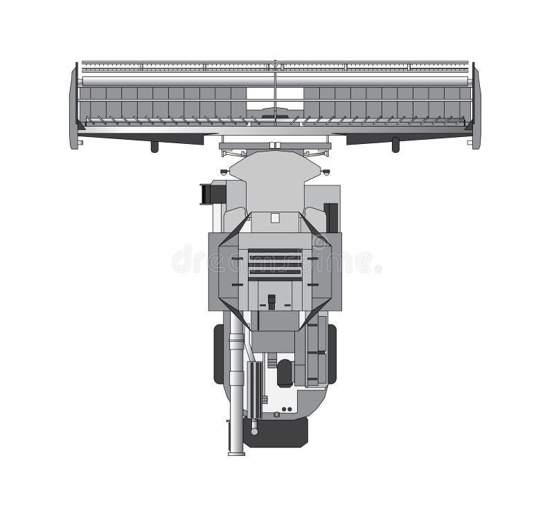 Combine harvester. Combine for grain top view stock illustration
