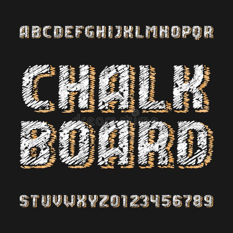 Chalk board alphabet font. Handwritten messy letters and numbers with drawn shadows. Stock vector typescript stock illustration
