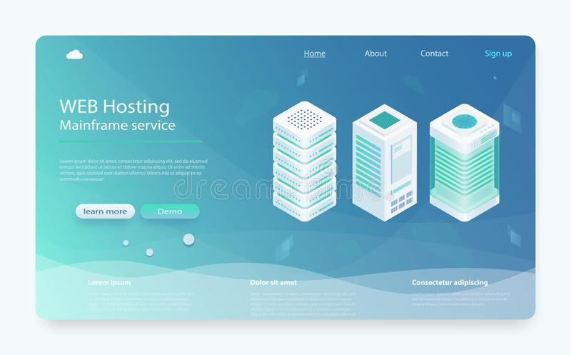 Internet datacenter connection concept. Hosting server isometric, administrator of web hosting. stock illustration