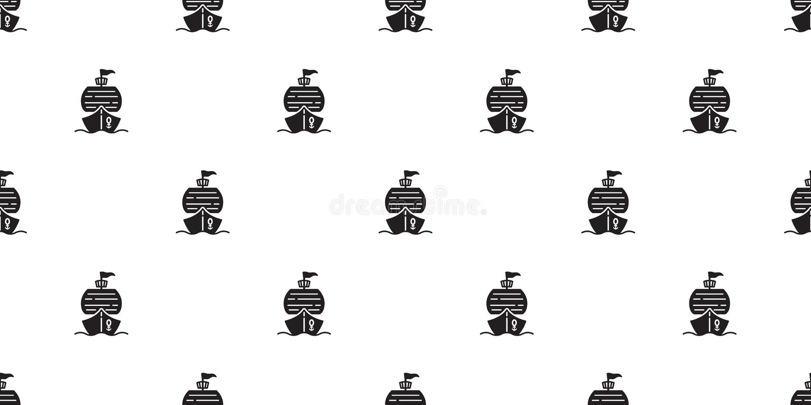 Boat seamless pattern pirate ship yacht sailboat anchor helm Nautical maritime tropical scarf isolated tile background repe royalty free illustration