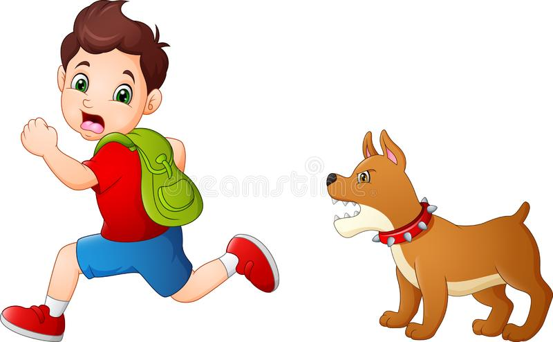 Cartoon schoolboy running away from angry dog vector illustration