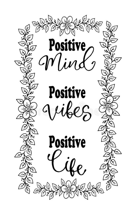 Positive mind, positive vibes, positive life. Inspirational quote. Typography for t shirt vector illustration