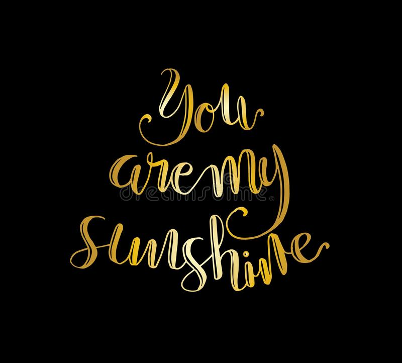 You are my Sunshine. Positive quote handwritten with brush typography. Inspirational and motivational phrase. Hand lettering and calligraphy for designs: t vector illustration