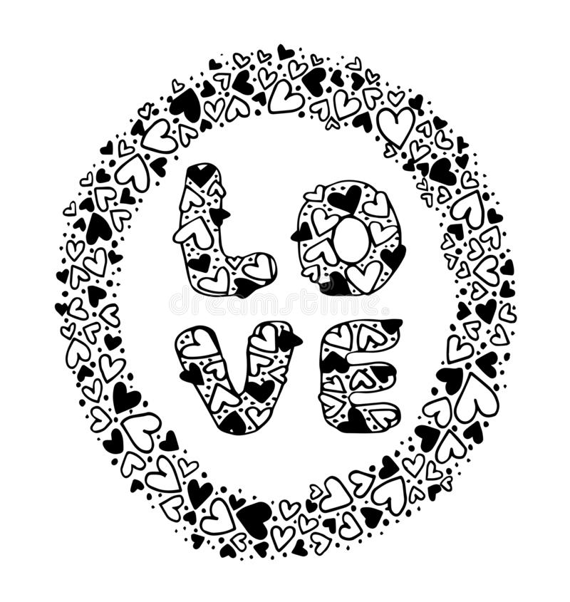 Love Hand drawing on frame heart shape background - Vector stock illustration
