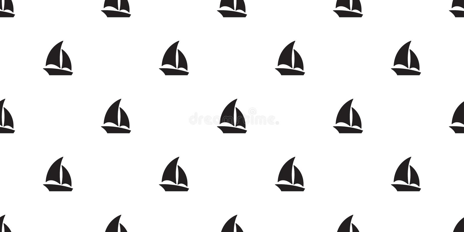 Boat seamless pattern yacht sailboat anchor helm maritime Nautical tropical scarf tile background repeat wallpaper royalty free illustration