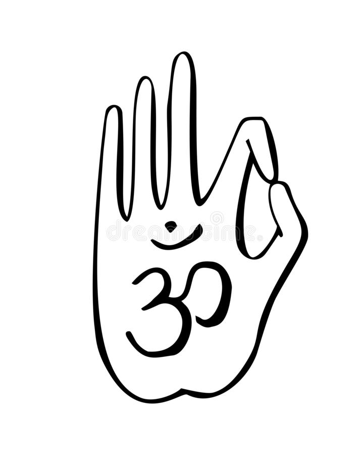 Vector illustration of a hand in a buddhist gesture with symbol Om. royalty free illustration