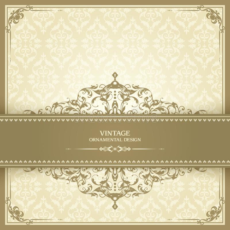 Vintage template with pattern and ornate frame. Ornamental lace pattern for invitation, greeting card, certificate. stock illustration