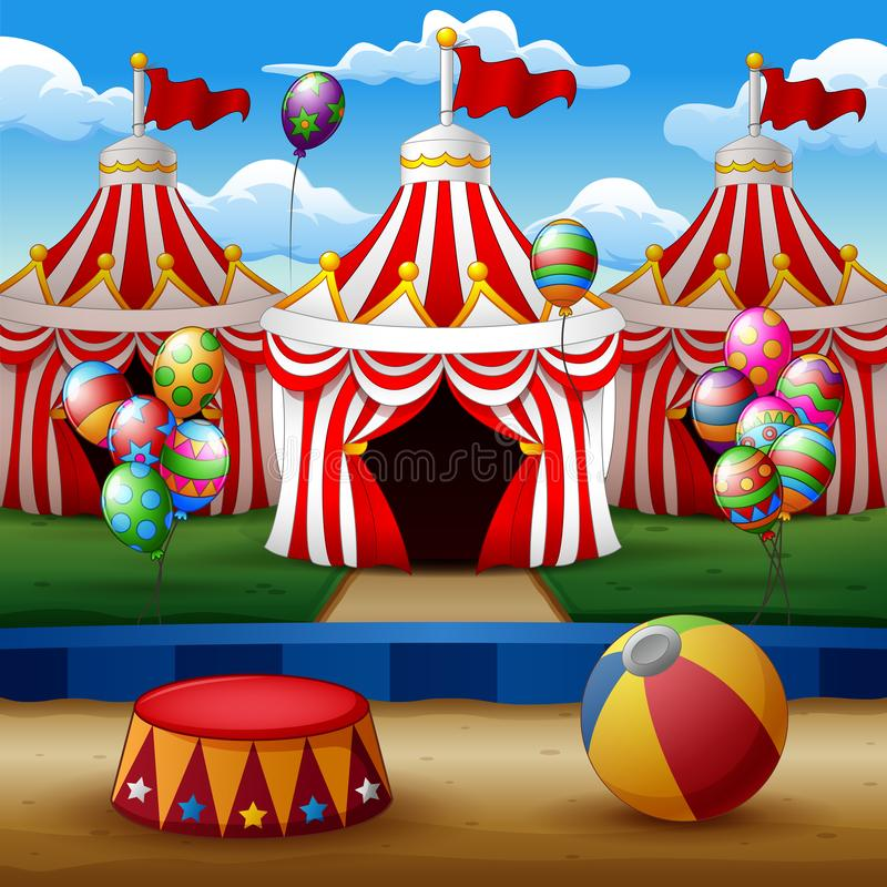 Cartoon circus arena with tents background stock illustration