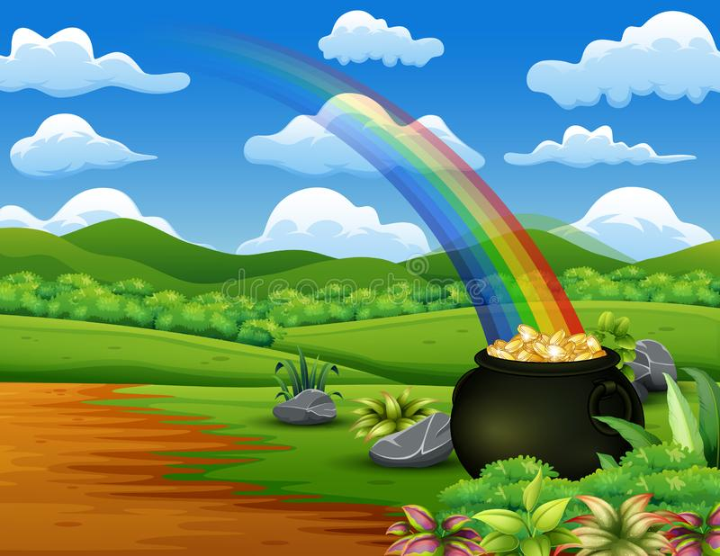 Saint Patrick`s Day pot of gold and rainbow on the nature stock illustration