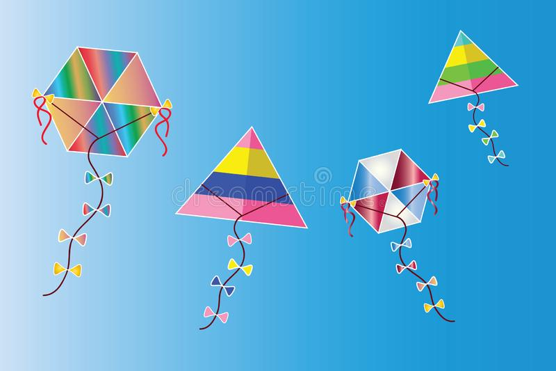 Colorful kites vector on the sky - traditional greek Clean Monday kites stock illustration