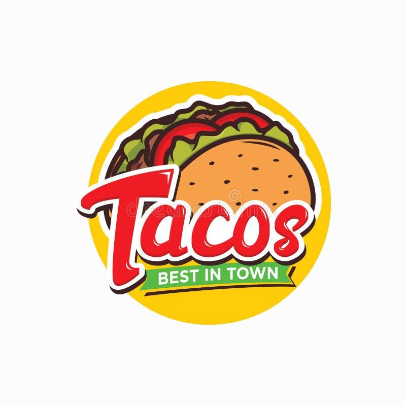 Tacos logo design isolated on white background vector illustration