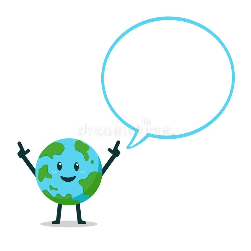 Cartoon earth character with speech bubble vector illustration