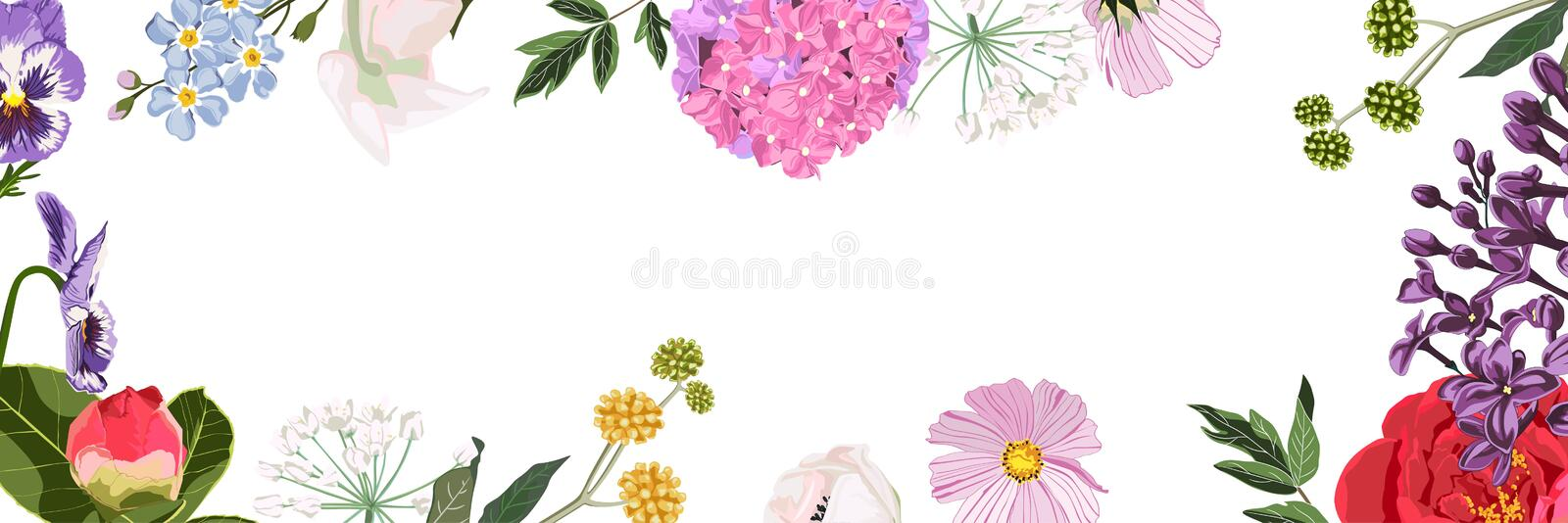 Spring sale background banner, frame with beautiful many kind of flower. stock illustration