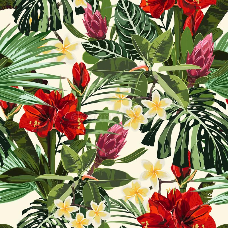 Tropical lilies, plumeria flowers seamless pattern with bright green leaves on light yellow background. vector illustration