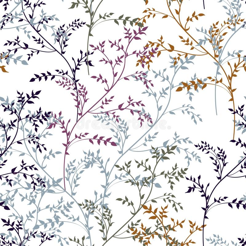 Floral abstract seamless pattern with linear plants and herbs in brown, yellow, mint, magenta colors. vector illustration