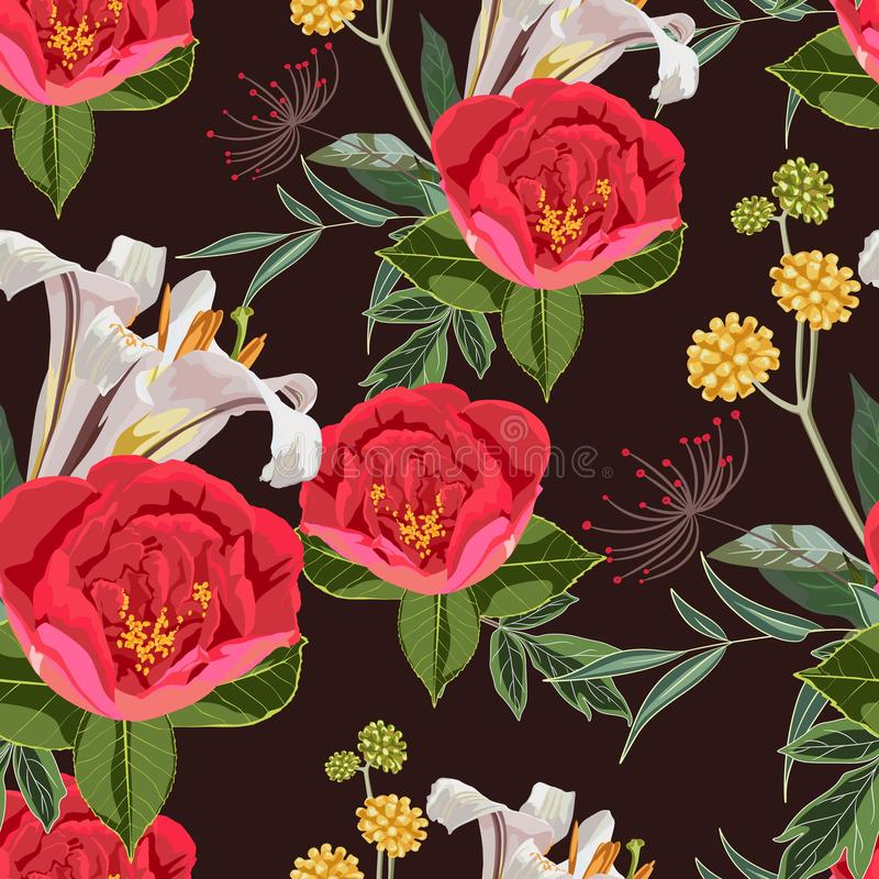 Seamless pattern with red peony lilies flowers and leaves on dark background. stock illustration