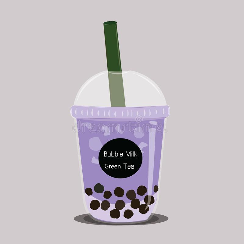 The bubble milk tea.Black pearl purple Taro tea is famous drink cup vector. royalty free illustration