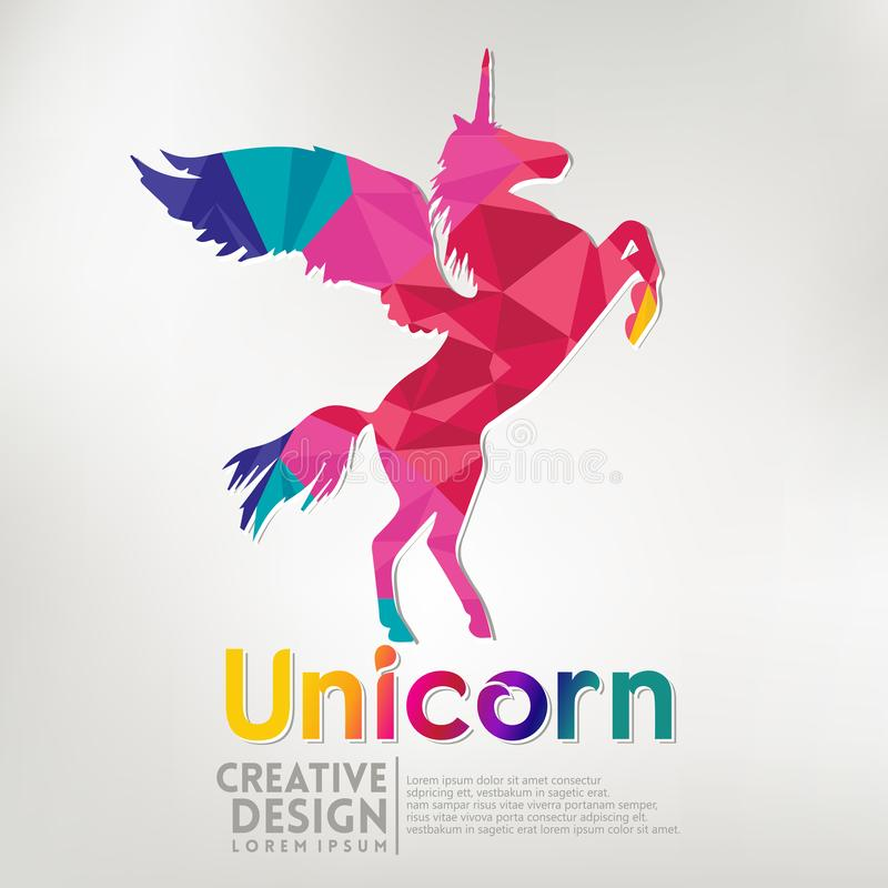 Unicorn geometric paper craft style. vector illustration stock illustration