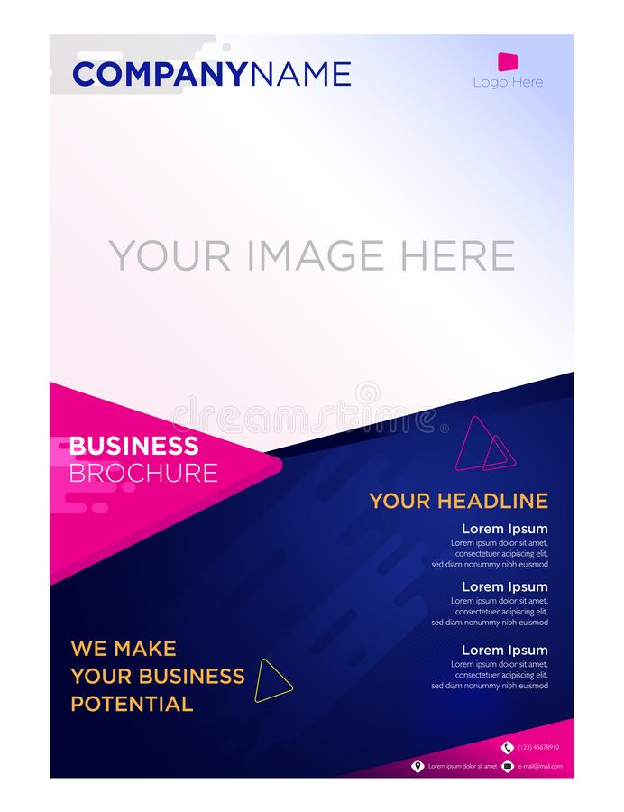 Brochure flyer business company and corporate triangle geometric. Brochure flyer business company and corporate look so simple with triangle geometric and flat stock illustration