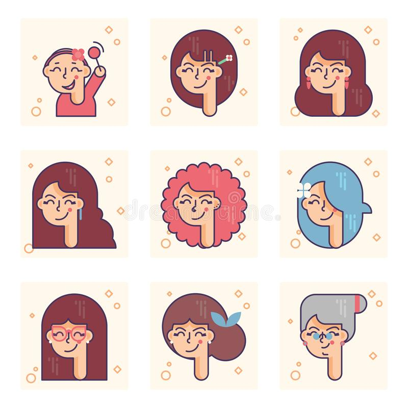 Set of pictograms with a person of different ages. From baby girl to adult woman vector concept. Colorful concept royalty free illustration
