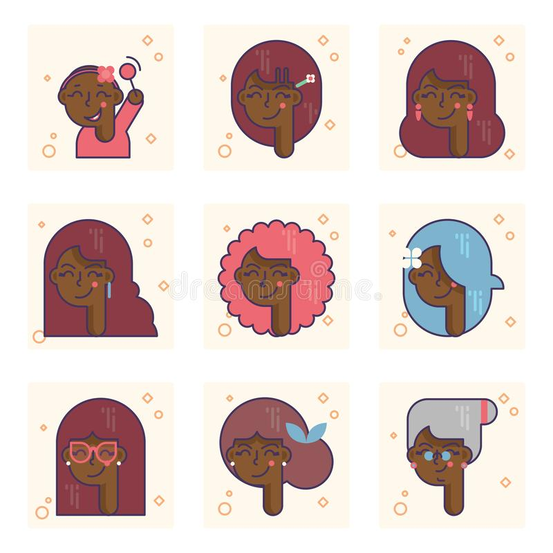 Set of pictograms with a african american person of different ages. From baby girl to adult woman vector concept. Colorful concept royalty free illustration