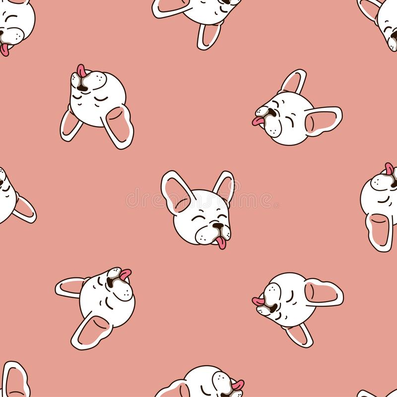 Dog Seamless Pattern Vector French Bulldog Isolated